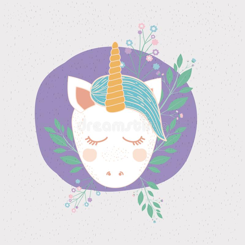 Colorful Frame With Front Face Of Caricature Unicorn In Circle With ...