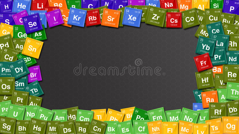Colorful frame made with symbols of the Periodic Table of the Elements stock illustration