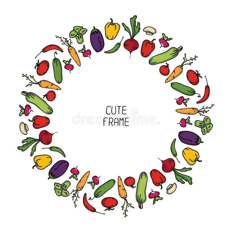 Colorful frame of vegetables. Illustration. stock illustration