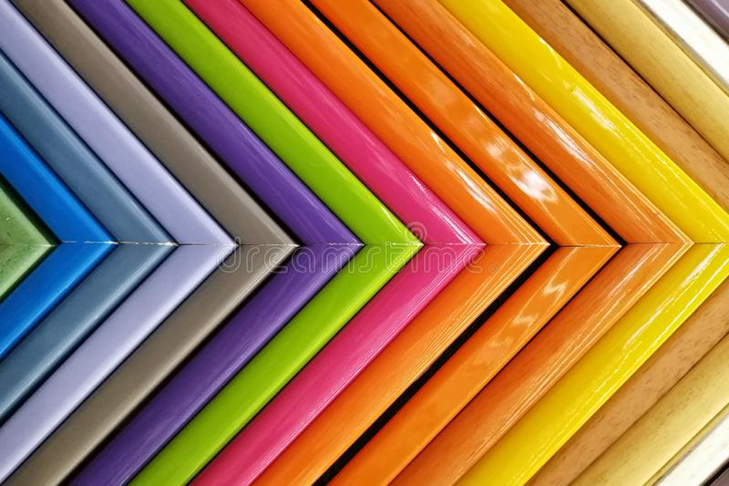 Colorful frames molding samples of picture. background texture royalty free stock images