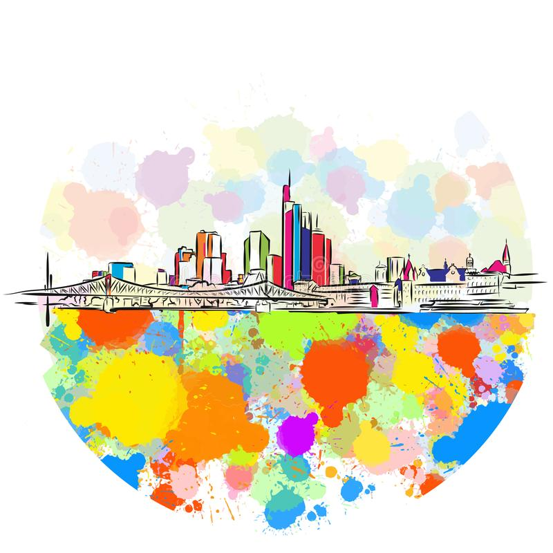 Colorful Frankfurt Skyline Sketch. Hand Drawn Vector Illustration, Paint Splatter Color Isolated on White Background. Business Travel and Tourism Concept with royalty free illustration