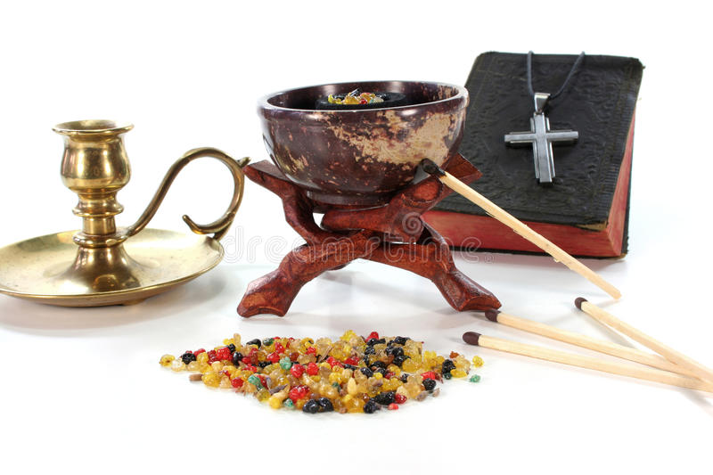Colorful frankincense with incense censer royalty free stock image
