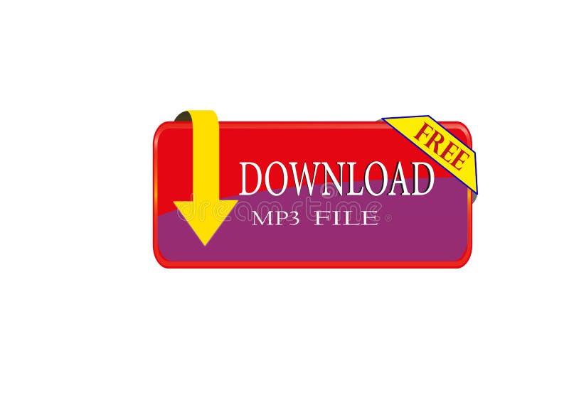 COLORFUL FREE DOWNLOAD MP3 FILE ICON WEB BUTTON Stock
