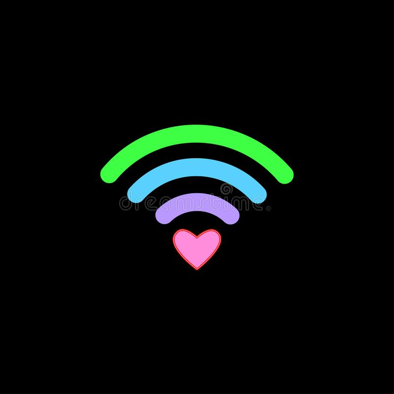 Colorful free WiFi icon with heart sign isolated on black background. Wireless internet connection concept. Network logo. Vector royalty free illustration