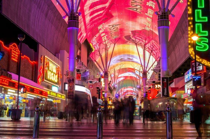 Colorful Fremont street is a part of famous Las Vegas Strip stock photo