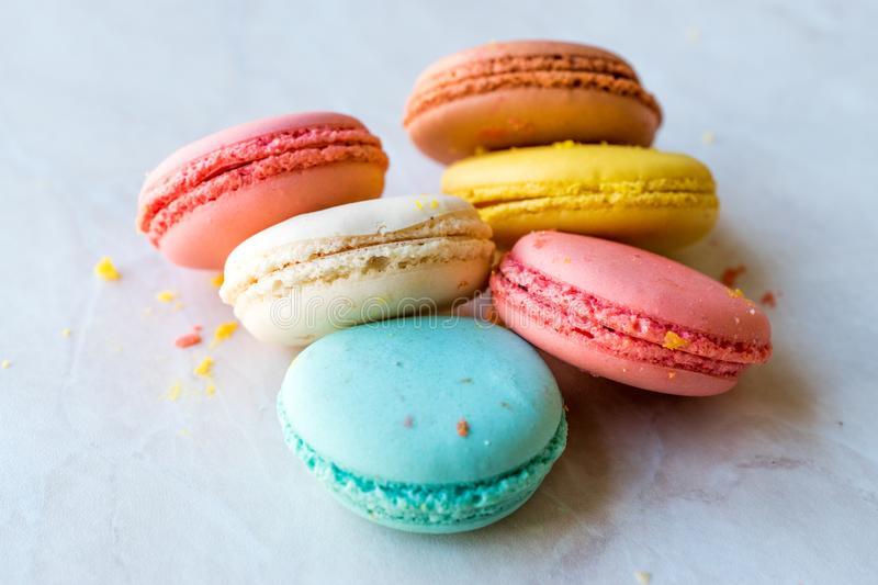 Colorful French or Italian Macarons stack / Macaroon Cakes. Traditional Dessert royalty free stock images