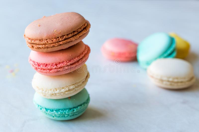 Colorful French or Italian Macarons stack / Macaroon Cakes. Traditional Dessert stock photos