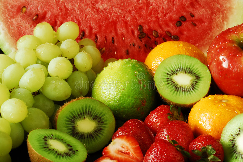 Colorful fresh group of fruits royalty free stock photos