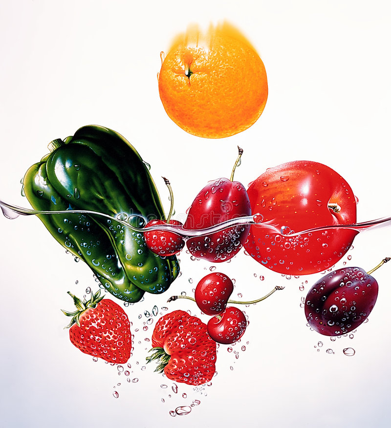 Colorful fresh group of fruits and vegetables