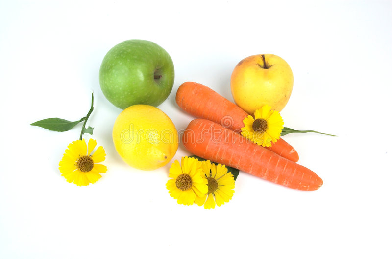 Colorful fresh group of fruits and vegetables royalty free stock photography