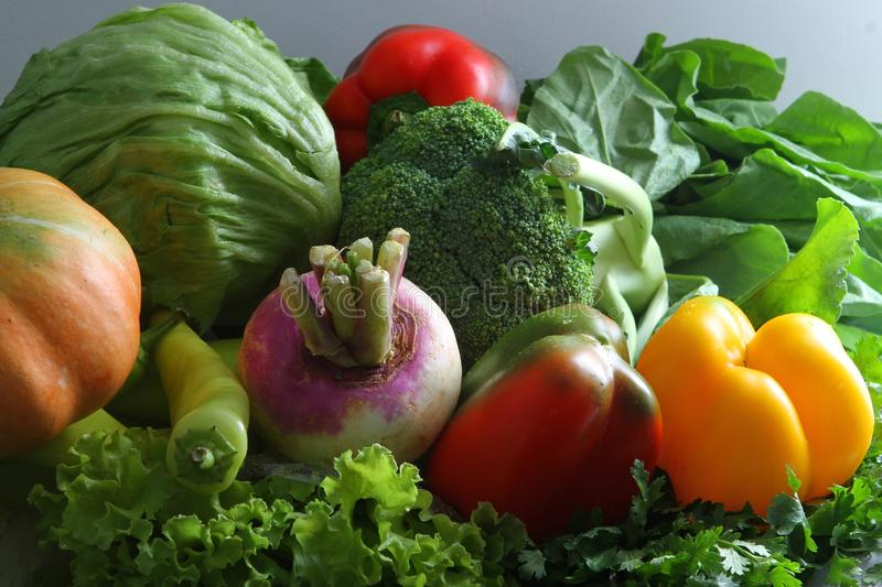 Colorful fresh group of vegetables. Healthy fresh cruciferous vegetables. royalty free stock photos
