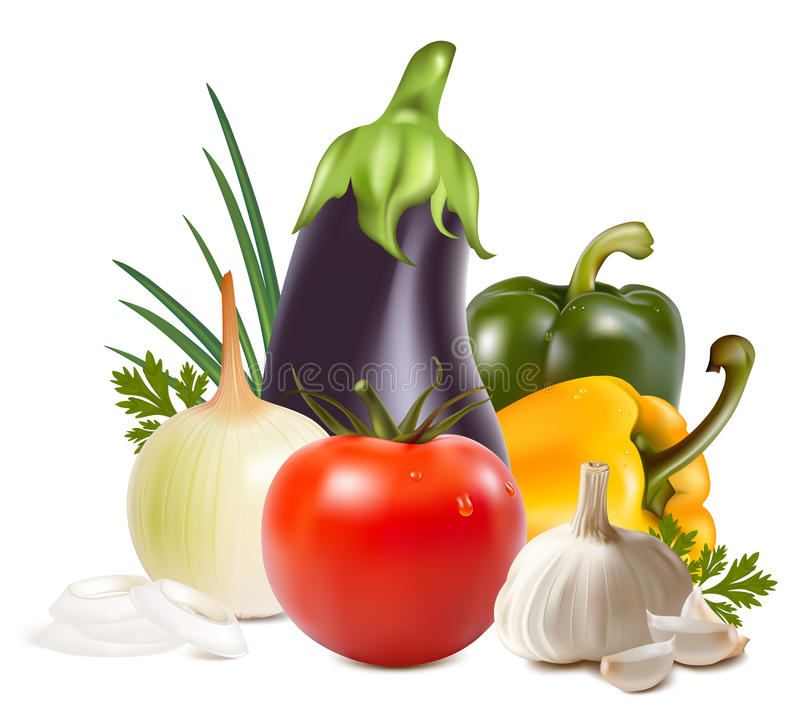 Colorful fresh group of vegetables. stock illustration