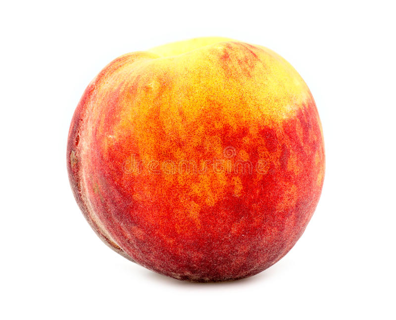 Colorful, fresh and juicy orange peach isolated on white background in studio stock images