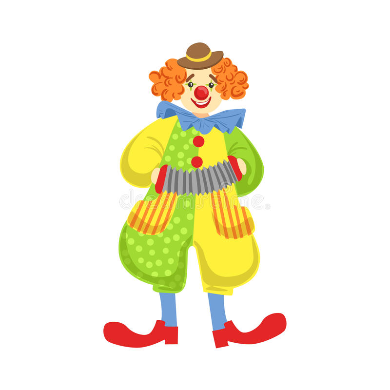 Colorful Friendly Clown Playing Accordion In Classic Outfit stock illustration