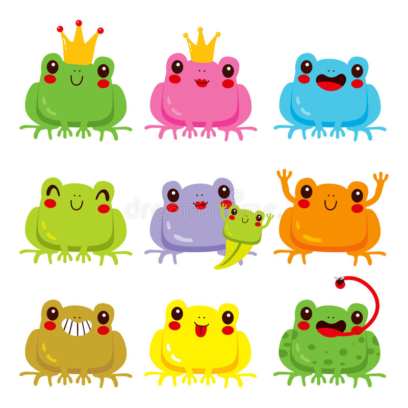 Colorful Frogs Collection royalty free illustration