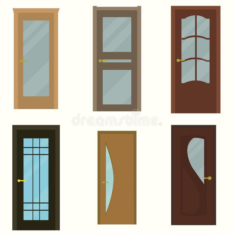Colorful front doors to houses and buildings set stock illustration
