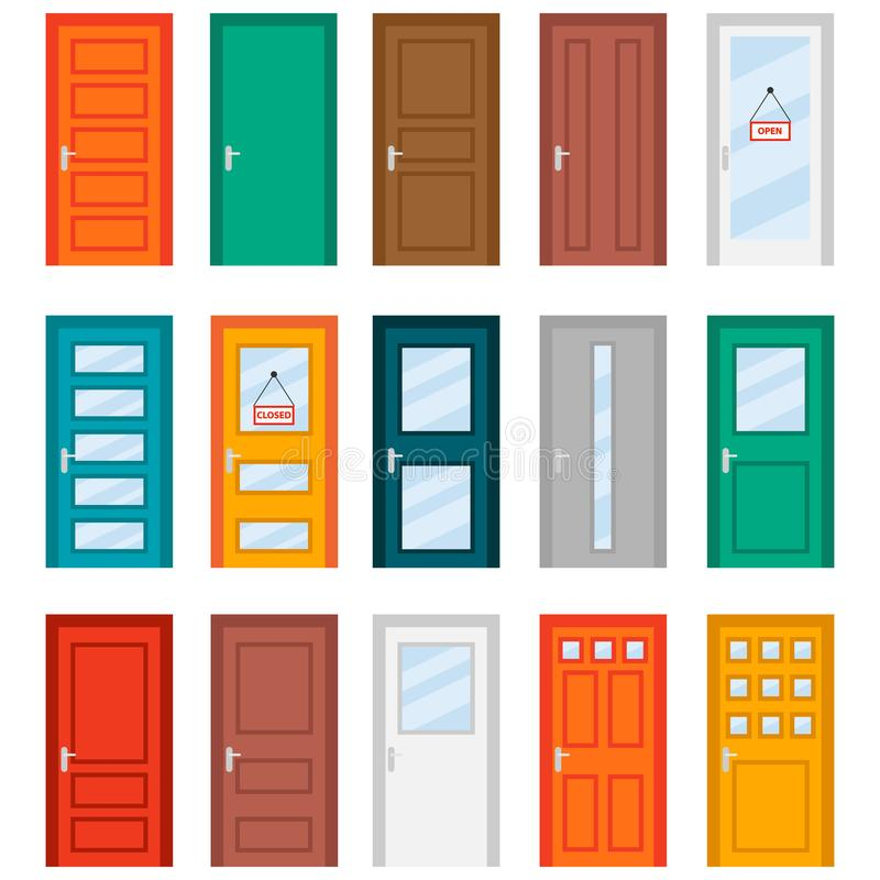 Colorful front doors to houses and buildings set in flat design style. Set of color door icons royalty free illustration