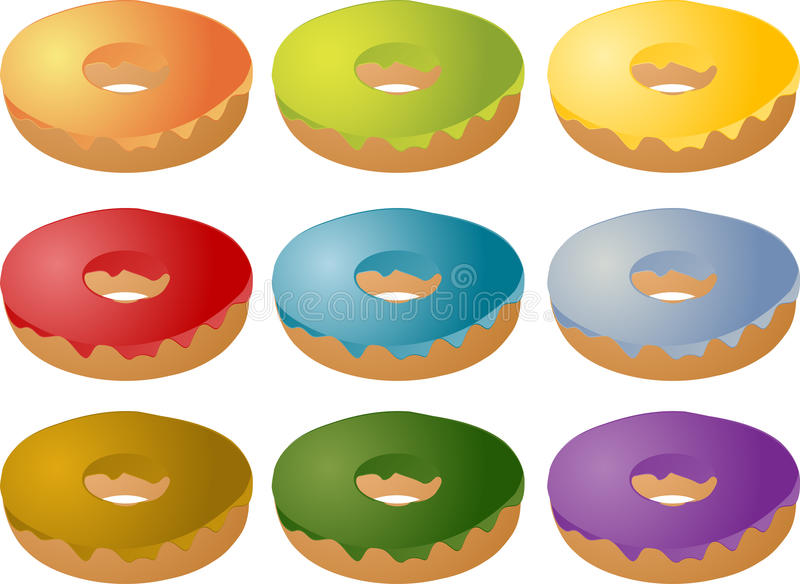 Colorful Frosted Icing Donuts Royalty Free Stock Images