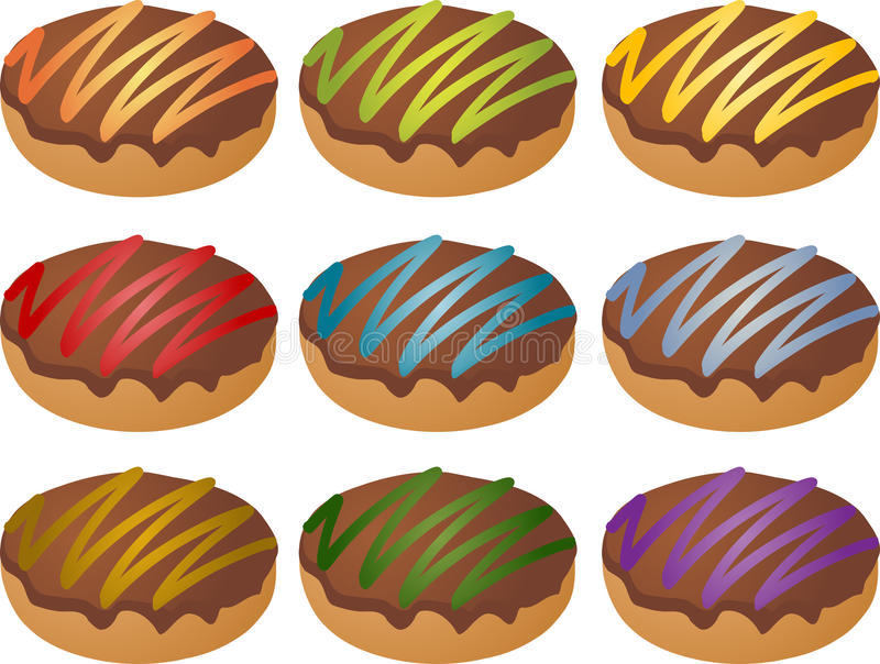 Download Colorful Frosted Icing Donuts Stock Illustration - Image: 11945856