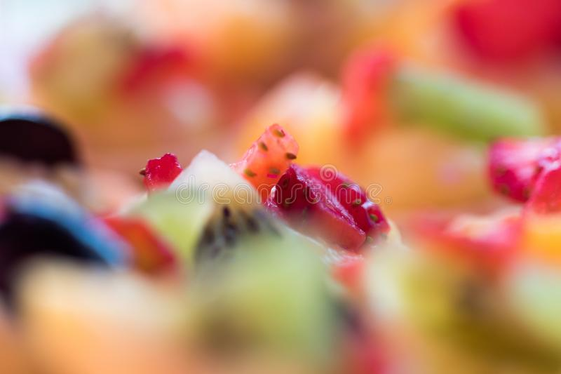 Fruit tart decoration in close up stock photography