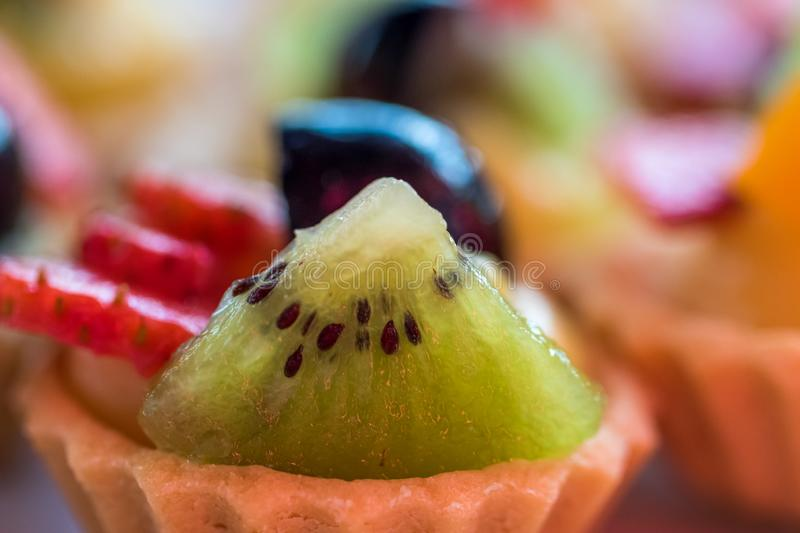 Fruit tart decoration in close up royalty free stock photography