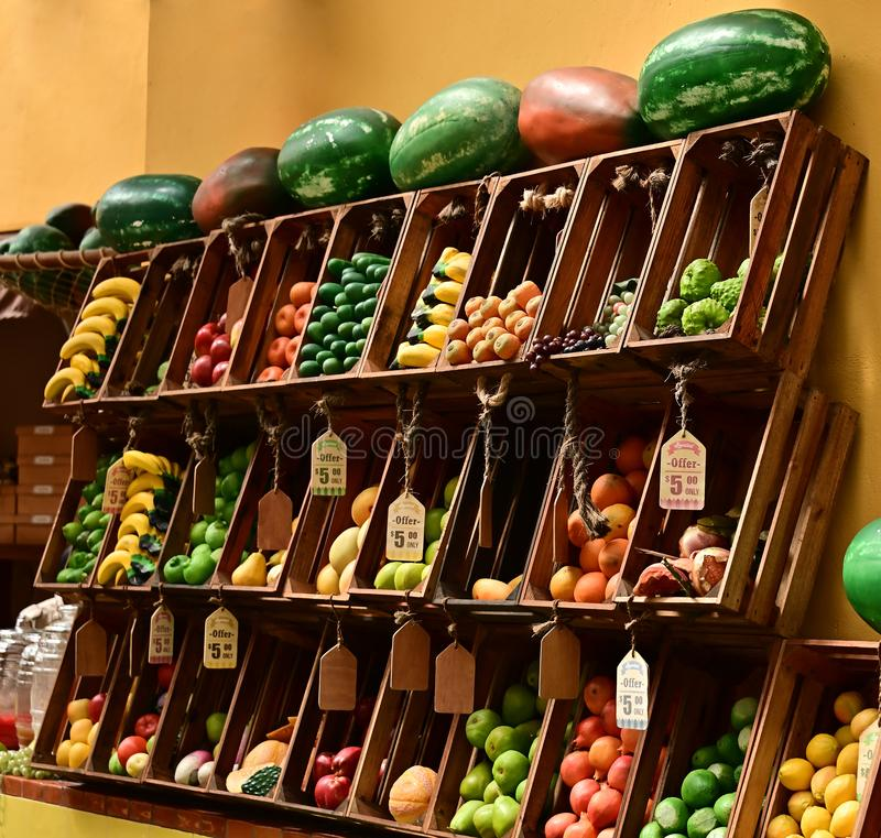 Colorful fruit market display. royalty free stock photo