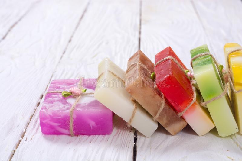 Colorful fruit handmade soap royalty free stock images