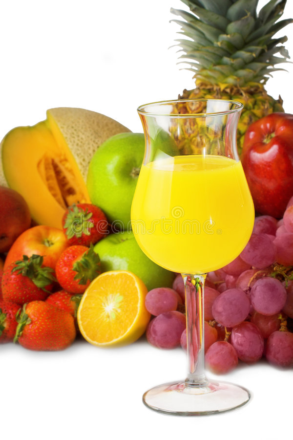 Colorful fruit and juice stock image
