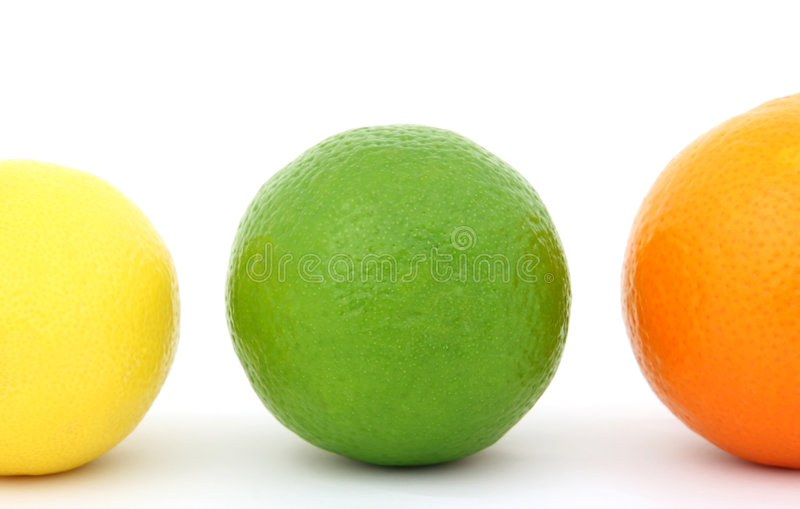 Colorful fruit lemon lime and orange stock image