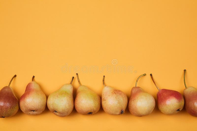Colorful fruit pattern or background. Composition of ripe juicy pears placed on bright orange background.  stock image