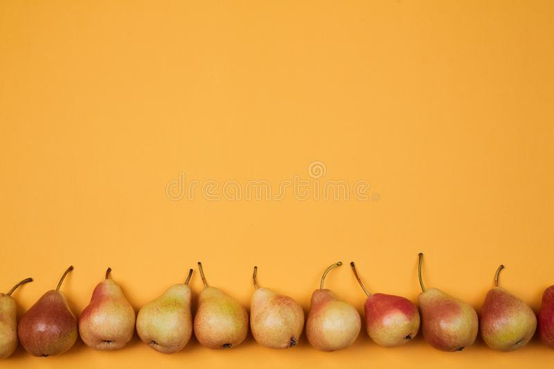 Colorful fruit pattern or background. Composition of ripe juicy pears placed on bright orange background royalty free stock images
