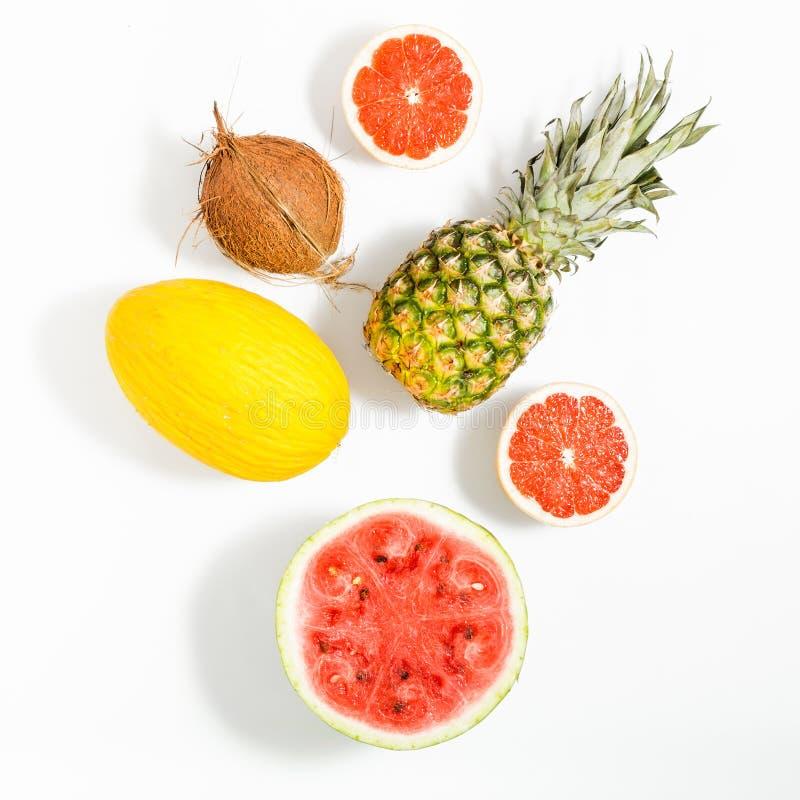 Colorful fruit pattern of fresh watermelon, grapefruit, melon an royalty free stock photo
