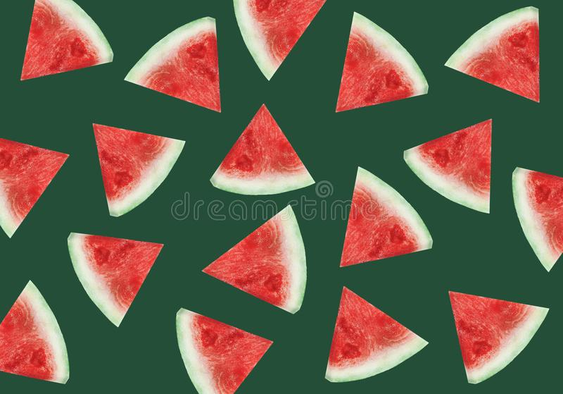 Colorful fruit pattern of fresh watermelon slices on green background. From royalty free stock images