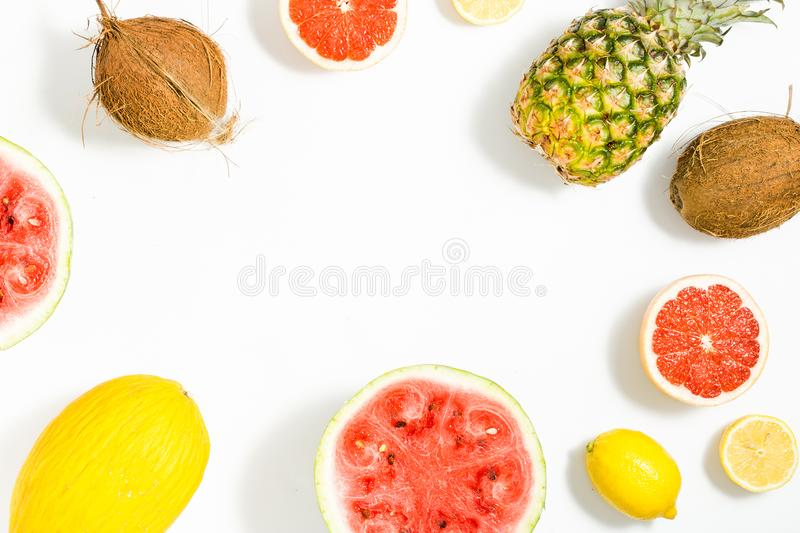 Colorful fruit pattern watermelon, pineapple, grapefruit, coconut, lemon and melon royalty free stock images