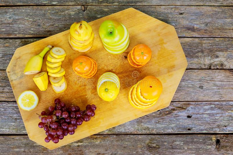 Colorful fruits and vegetables background stock photo