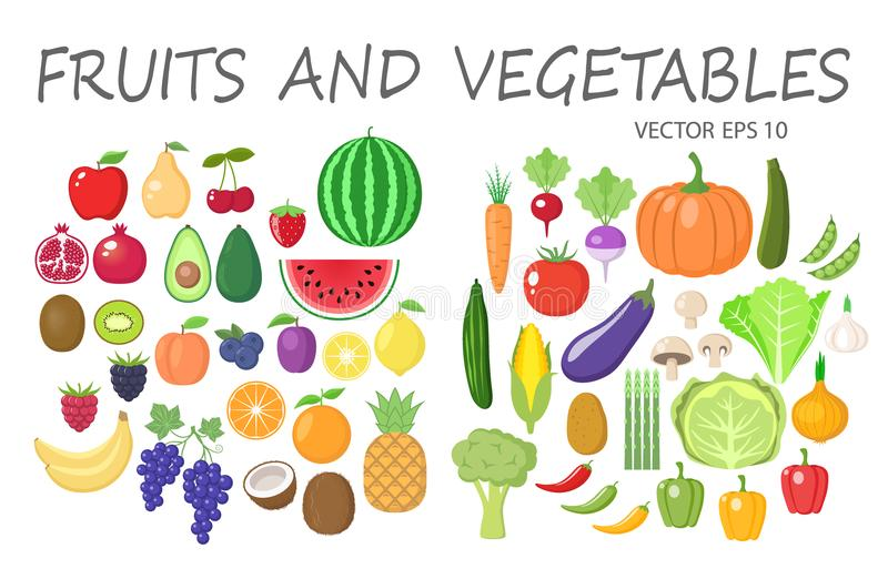 Colorful fruits and vegetables clipart set. Fruit and vegetable colored cartoon collection. stock illustration