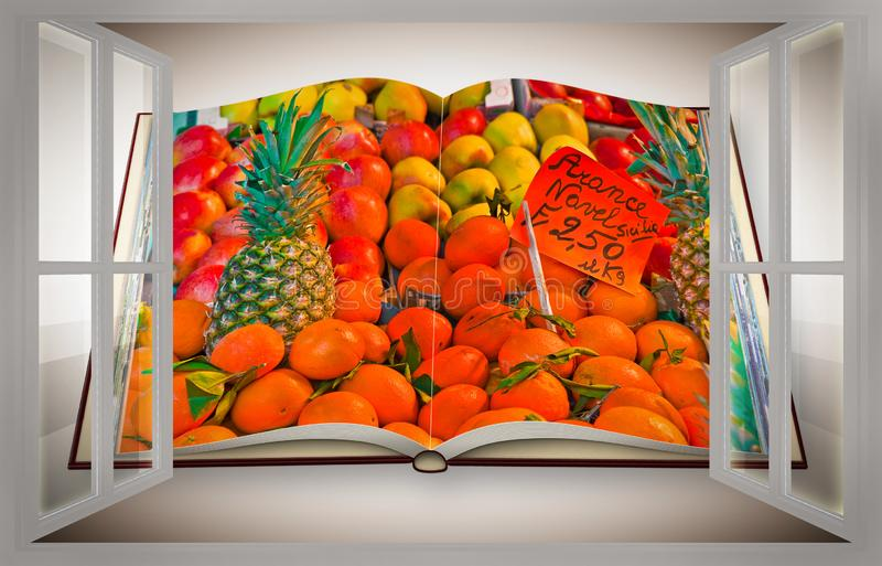 Colorful fruits and vegetables from organic agriculture exhibited in a italian market seen from a window - 3D render of an opened. Photo book isolated on white royalty free illustration