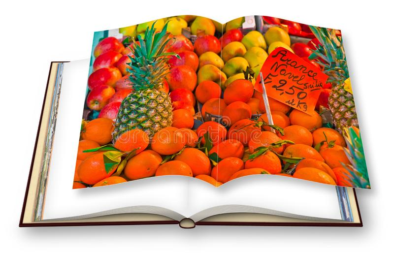 Colorful fruits and vegetables from organic agriculture exhibited in a italian market - 3D render of an opened photo book isolated. On white background. I`m the stock illustration