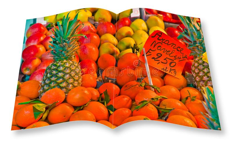Colorful fruits and vegetables from organic agriculture exhibited in a italian market - 3D render of an opened photo book isolated. On white background. I`m the royalty free illustration