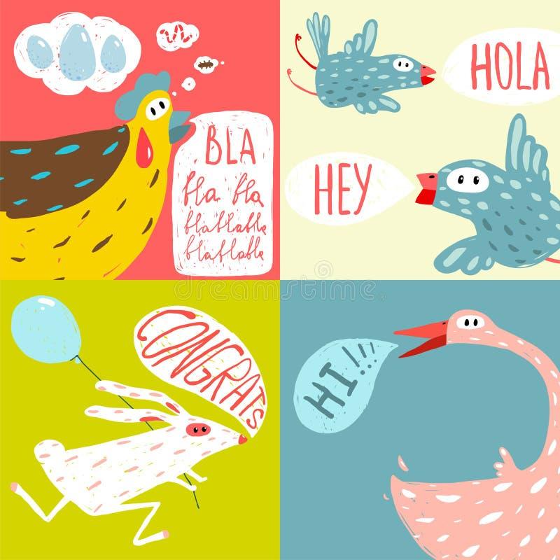 Colorful Fun Cartoon Domestic Animals Greeting stock illustration