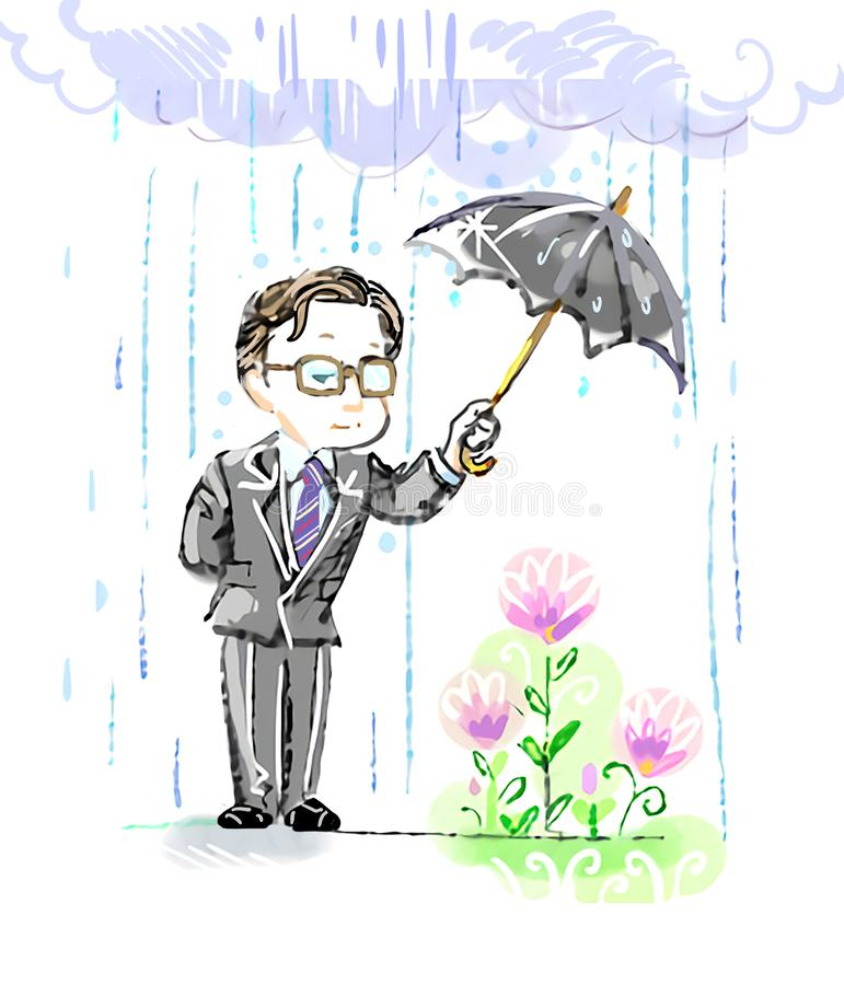 Cartoon doodle of a man in suit and glasses holding umbrella to protect flowers from the stormy weather vector illustration