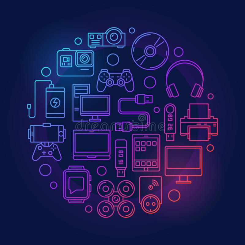 Colorful Gadgets And Devices Illustration Stock Vector