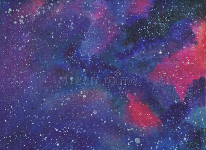 Colorful galaxy background painted on canvas stock illustration