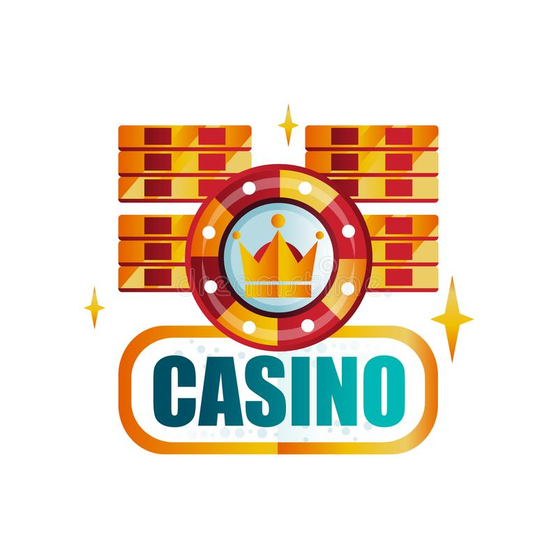 Colorful gambling emblem. Original logo design for royal casino with playing chips. Icon with gradient colors. Vector. Colorful gambling emblem. Original logo stock illustration