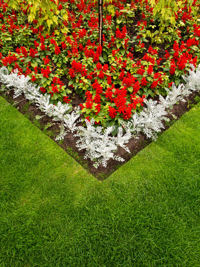 Download Colorful Garden Flower Bed And Grass Lawn Stock Photo - Image: 26259200
