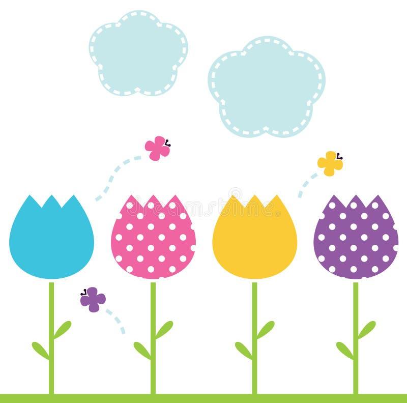 Cute spring garden Tulips vector illustration