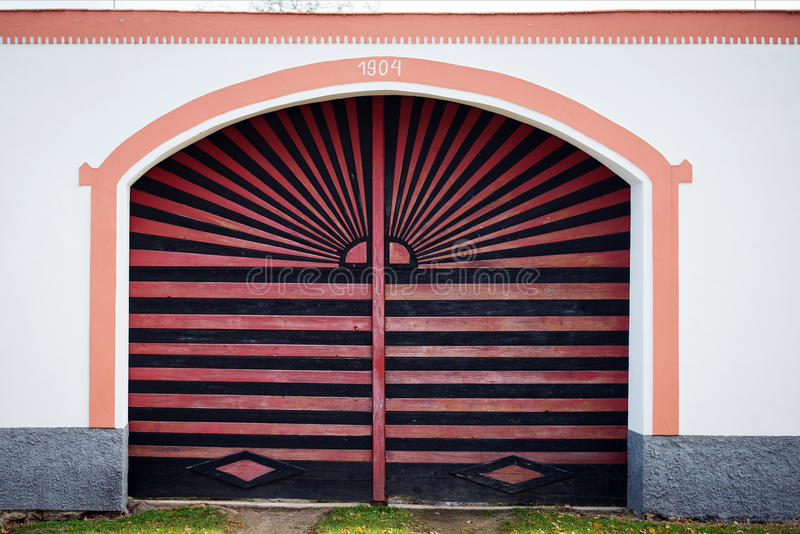 Colorful gate to Holasovice house, Czech republic stock images