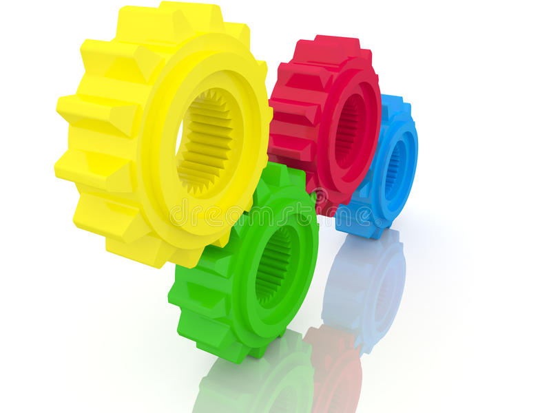 Colorful gear cogs royalty free illustration