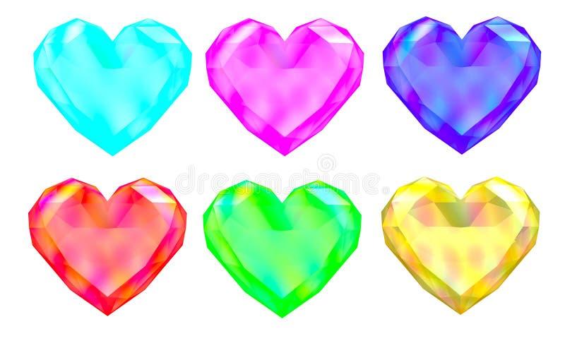 Colorful gem hearts stock illustration