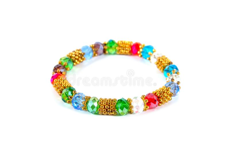 Colorful gems bracelet isolated on white background royalty free stock photos